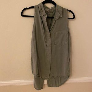 Green Split Back Blouse